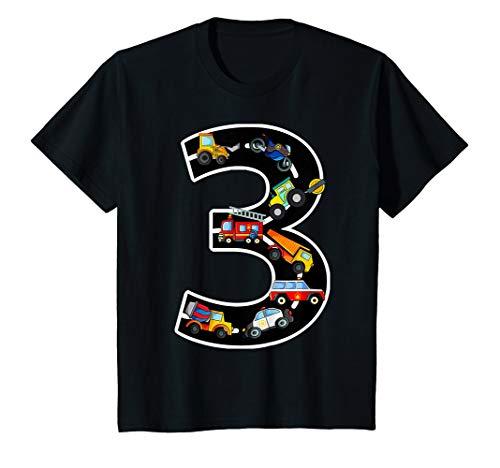 Kinder Geburtstagsshirt 3 Jahre Fahrzeuge Jungen 3. Geburtstag T-Shirt (Mädchen Blue-outfits Red Und White)