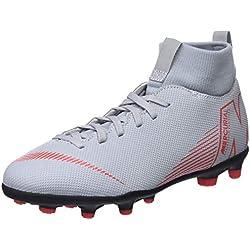 Nike JR SUPERFLY 6 CLUB FG/MG, Zapatillas de Fútbol Unisex Niños, Gris (Wolf Grey/Lt Crimson/Black 060), 38 (UK 5)