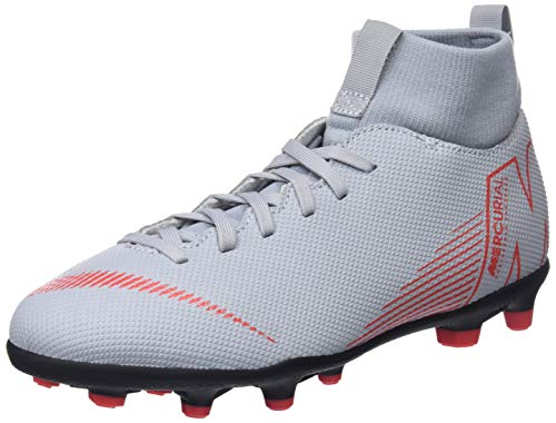Nike Jr Superfly 6 Club MG, Scarpe da Calcetto Indoor Unisex - Bambini, Multicolore (Wolf Grey/Lt Crimson/Black 060), 34 EU