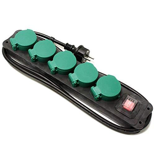 Oferta de Cablematic - Regleta de enchufes IP44 para exterior 5 schuko 16A 250V con interruptor y cable de 1.5m