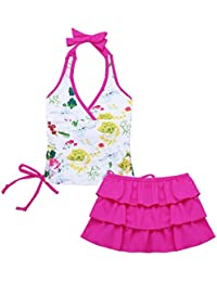 227924ee33dbdb Tiaobug Mädchen Bademode Tankini Bikini Badeanzug Schwimmanzug geblümt  Neckholder Top + Baderock mit Innenslip Gr.