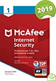 Mcafee Internet Security 2019 | 1 Dispositivo| Abbonamento di 1 Anno|Pc/Mac/Smartphone/Tablet