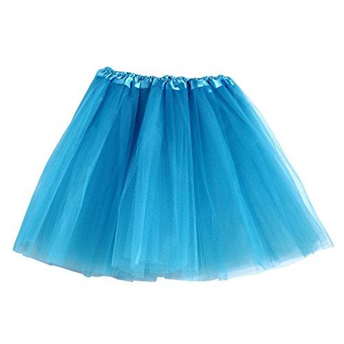 mioim Tutu Tütü Tanzrock Ballettrock Minirock Mini Petticoat Tanzkleid Pettiskirt Unterrock für Damen Hellblau