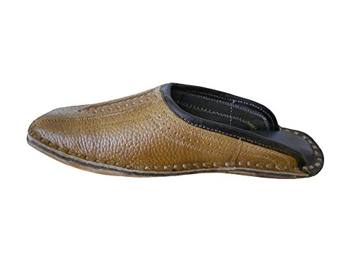 kalra Creations Veste en cuir traditionnel Indien Casual Chaussures Chaussons Marron