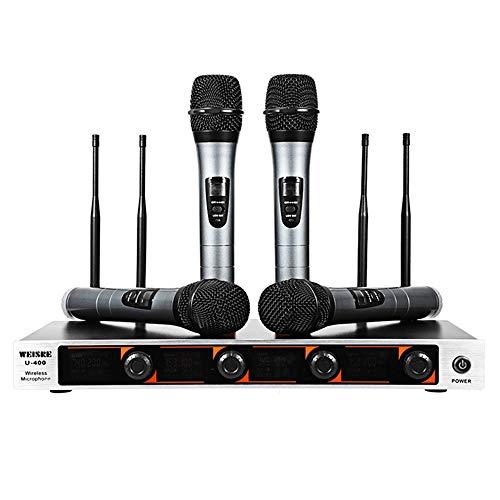 ASG Sistema microfonico Wireless UHF a 4 canali, Sistema microfonico Portatile Wireless Karaoke/Uno per Quattro microfoni Wireless per KTV, Bar, spettacoli teatrali, ECC.