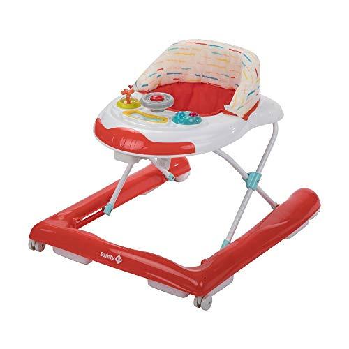 Safety 1St Bolid Girello Bambino Primi Passi, Piano Gioco con Musica, Red Lines