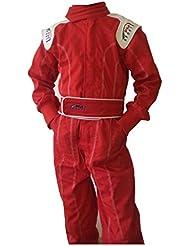 Traje para niños para carrera y karting, para interior y exterior., color rojo, tamaño 134