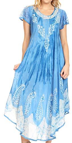 Sakkas 19245 - Jonna Kurzärmliges Batik-Kleid aus Batik-Oberteil mit Batikmuster für Damen - 19243-SkyBlue - OS -