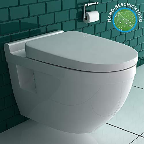 Hänge-WC (Tiefspüler) aus hochwertiger Sanitärkeramik mit Duroplast-WC-Sitz inkl. Soft-Close-Funktion und Nano-Beschichtung | passend zu GEBERIT