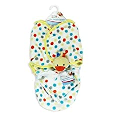 Baby Wickeldecke Kuscheldecke mit Schmusetuch Baby Wrap Neugeborenen Pucken Schlafsack gelb Ente