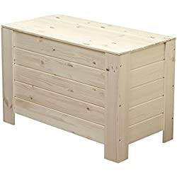 qtimber Madera baúl grande con tapa/Cofre del Tesoro, caja de madera, Cofre del Tesoro, multiusos caja de almacenamiento, madera, aguja Madera