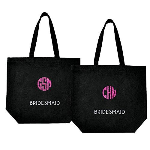 ElegantPark Personalisierte 3 Alphabets in Farbrige Glitter Silber Bridesmaid Hochzeit Geschenke Tasche Einkaufstasche in Schwarz 2 Stück