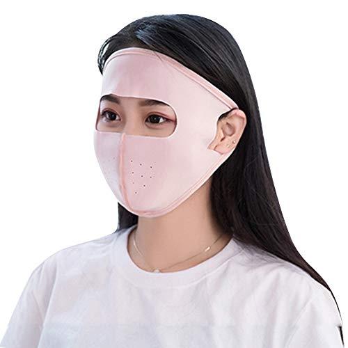 CHIRORO Sommer Gesichtsmaske Atmungsaktiv Vollmaske UV-Sonnenschutzmaske für Gesich Staubdicht Hals Outdoor Anti-UV Sport Maske für Männer und Frauen, Fleisch Pink