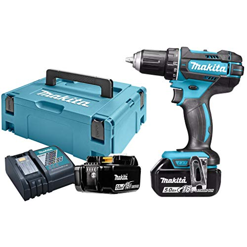 Makita DDF482RTJ Perceuse visseuse + 2 Batteries 18V 5Ah Li-ION + Coffret Makpac, Bleu