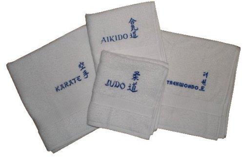 S.B.J - Sportland Duschtuch/Badetuch aus Frottee mit Bestickung Judo Text und Schriftzeichen/Kanji weiß (Weiße Badelaken)