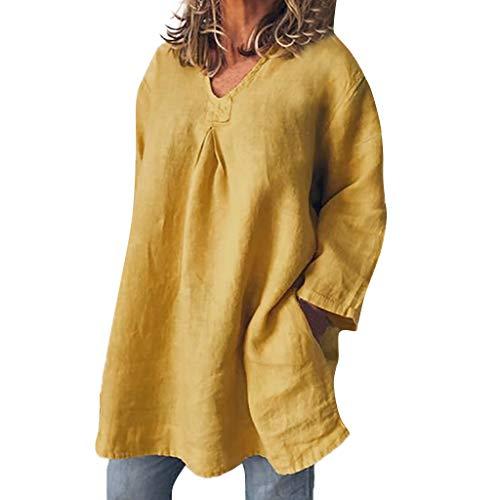 Belted Hosen Leinen (Alwayswin Frauen Langarm Shirt Baumwolle Leinen T-Shirt Beiläufiges Loses Oberteile Bluse Top Solide Pullover Oberteile Damen Herbst Lässige Leinen T-Shirt Lange Vintage Elegant)