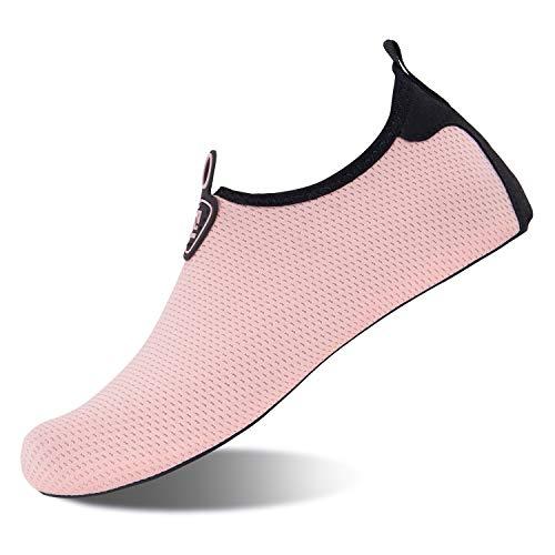 Strandschuhe Badeschuhe Schwimmen Aqua Barfu? Wassersport Yoga Schuhe Leicht Rutschfeste f¨¹r Damen Herren (S101-Pink, 39/40EU) - Damen Pink Schuhe
