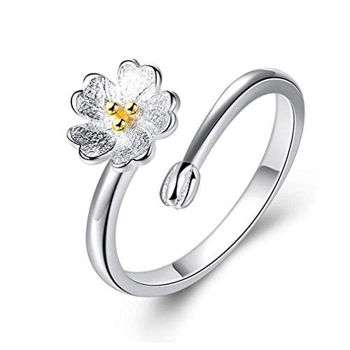 Bobopai Women Sakura Open Ring Adjustable Flower Finger Ring Fashion Jewelry Valentine''s Gift for Girls (Style 03) -