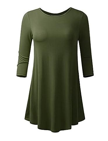 Women's 3/4 Long Sleeve Tunic Flare Hem Shirt Tops for Leggings for Women