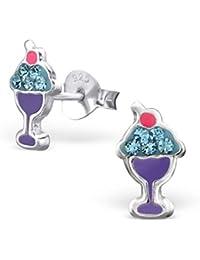 gelato in vetro–Orecchini a lobo in argento Sterling 925–Dimensioni: 6mm x 10mm–con cristalli–Scatola regalo inclusa–la rosa e argento Company–RS0027