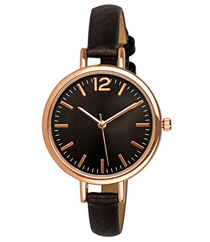 SIX Modische Damen-Armbanduhr Edelstahlgehäuse, rosé-Gold, schwarzes Kunstlederarmband, Zifferblatt mit 3 Zeigern, rostfrei (274-337) (Leder Uhr-silber-zifferblatt)