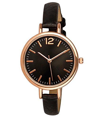 SIX Uhr, roségoldene Armbanduhr mit dunklem Ziffernblatt, schwarzem Kunstleder Armband, in Geschenkbox (274-337)