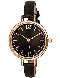 """SIX """"Geschenk"""" schwarze Damen Uhr mit dunklem Ziffernblatt und rosegoldenen Details schmales Kunstleder Armband in Geschenkbox (274-337)"""