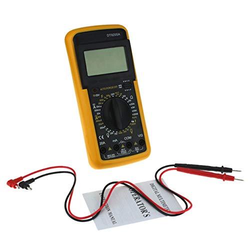 DT9205A Digitales Multimeter 1999 Zählt AC/DC Volt Amp Ohm Kapazität Diode hFE Durchgangsprüfer Amperemeter Voltmeter Ohmmeter (Farbe: Schwarz & Gelb)
