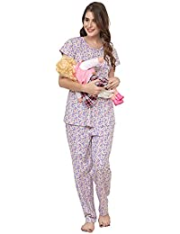 ZEYO Women's Cotton Pink & Purple Feeding Night Suit | Nursing Night Dress with Floral Print | Breastfeeding Night wear| Half Sleeve Baby Feeding Top and Pyjama Set