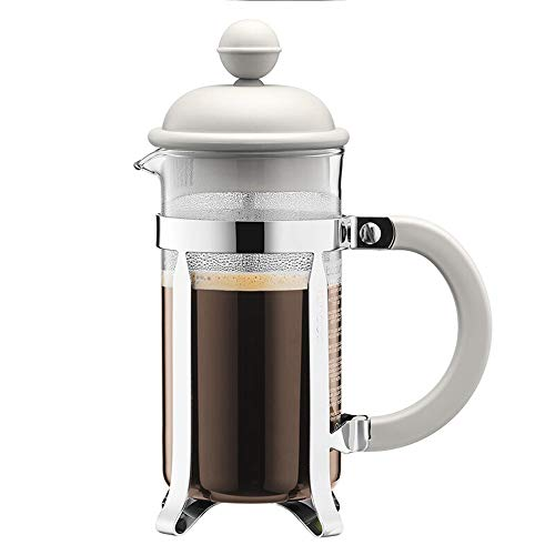 Jenify French Press Coffee Maker Glass 12 oz, 35 Liter (3 Cup) | Double Walled Isolierte Kaffee & Tea Brewer Pot & Maker |,White -