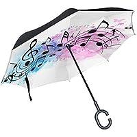 BETTKEN - Paraguas invertido reversible abstracto acuarela, notas musicales, paraguas impermeable, resistente al