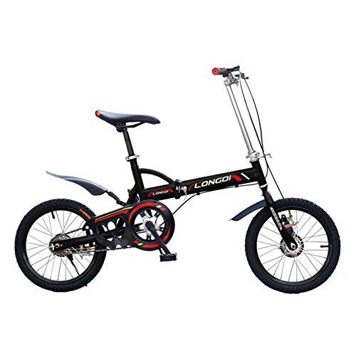 XQ- Bicicleta 16 Pulgadas Adultos Velocidad Única Muy Ligero Plegable Estudiantes Masculinos Y Femeninos Niño Bicicleta - Negro
