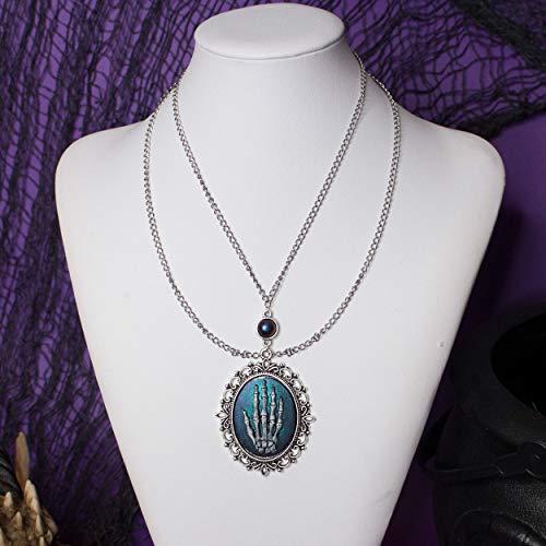 Adrastea Gothic Halskette, Gothic Halskette Cameo mit Skelett Hand, blau und lila Basis mit silbernen Ketten, Geschenk für sie, originelles Geschenk zum Valentinstag