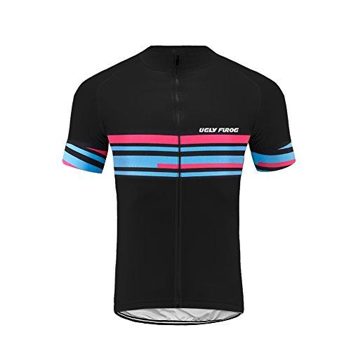 Uglyfrog Herren Atmungsaktiv Radfahren Jersey Kurzarm Bike Biking-Shirt-Oberteil mit 3D Padded Bib Shorts Set Reitsportkleidung