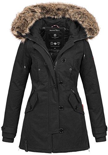 Navahoo Damen Designer Winter Jacke warme Winterjacke Parka Mantel B638 [B638-Pauline-Schwarz-Gr.XS]