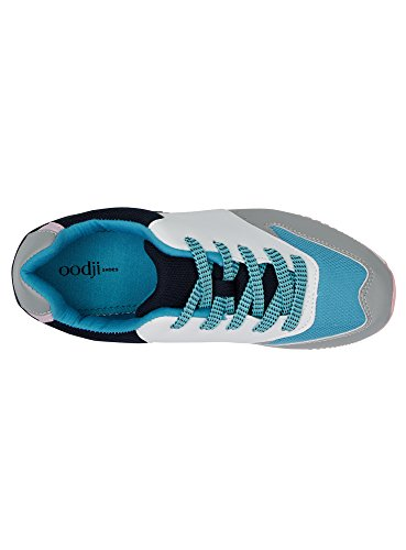 oodji Ultra Damen Bunte Sneakers aus Kombiniertem Stoff Mehrfarbig (1079B)