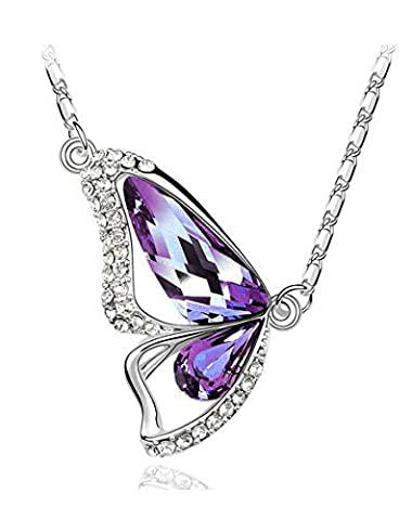 Laskey® Sparkling Purple Silver Butterfly Necklace made with Austrian Swarovski Crystal For Women Black Friday Deal