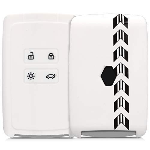 kwmobile Autoschlüssel Hülle für Renault - Silikon Schutzhülle Schlüsselhülle Cover für Renault 4-Tasten Smartkey Autoschlüssel (nur Keyless Go) Rally Pfeil Streifen Design Schwarz Weiß Weiß