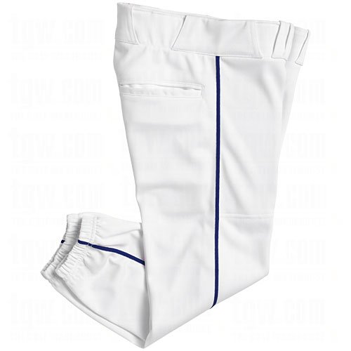 Champro Damen Sports Damen Performance Hose mit Paspelierung, damen, White, Navy Pipe (Low-rise-performance-hose)