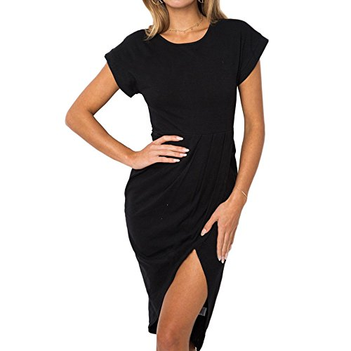 Aelegant Damen Sommer Elegant Rundhals Kurazarm Shirtkleid Schlitz Casul Lose Knielang Kleid vorne kurz hinten lang Freizeitkleid mit Gürtel
