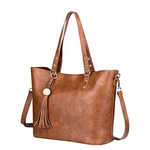 Vbiger Frauen Handtasche PU Leder Schultertasche Lässig Umhängetasche mit Quaste Dekor und abnehmbaren Schultergurt Braun