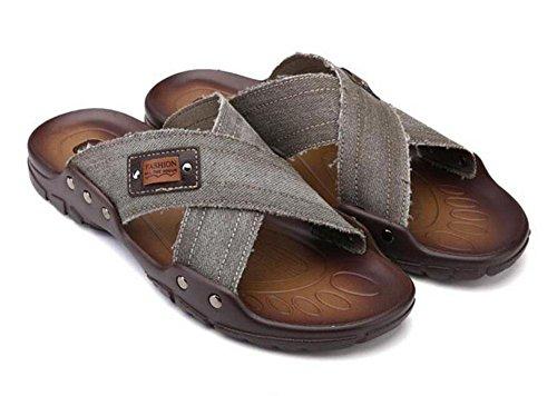 SHIXR Hommes Open Back Chaussures Cool Sanddress Mode Lavable Fresh Denim Porter Épaissir Holiday Sandales Khaki