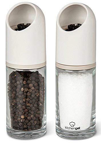KitchenGet Moulin à sel et Poivre - Moulins Solides Avec Broyeur en Céramique Ajustable - Ensemble de 2 - 155 ml Chacun