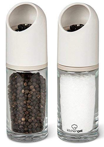 Kitchenget - set macina sale e pepe - robusti con macina in ceramica regolabile - set di 2-155 ml