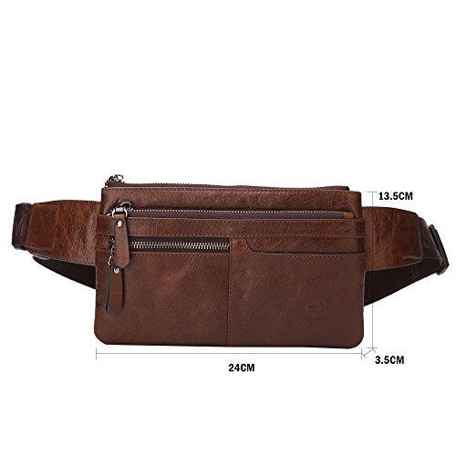 Echtleder Gürteltasche Bauchtasche Handtasche Vintage Retro Hüfttasche Schultertasche Bosom Chest Bag Geldbörse für Damen Herren Braun/W2443