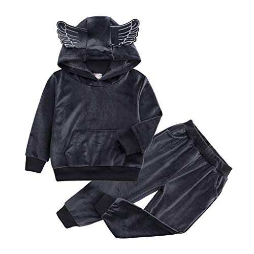 DIASTR 2 Stücke Säugling Kleinkind Baby Jungen Mädchen Kletterkleidung Kurzarm Bodys Fleece Warm Kapuzen Sweatshirt Outfits Set Tops Hosen Böden Kleidung Set