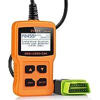INTEY OBD2 Lecteur de Code, Effacer le Code de Défaut du Véhicule Diesel, Batterie Diagnostique Outil,  Supprimer le Pilote de Code D'erreur, avec L'interface OBD-II Standard