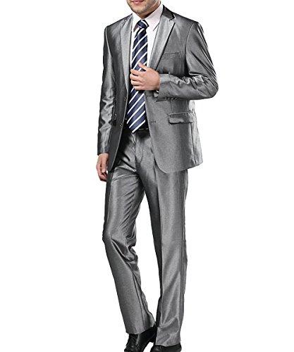 ... Pflegehinweis Herren Business Anzug 2-Knopf-Anzugjacke mit Anzughose  Silber ...