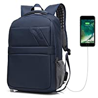 Business Laptop Backpack with USB Charging Port Waterproof Travel Anti Theft Daypack College Bag for Men and Women - Dark Blue