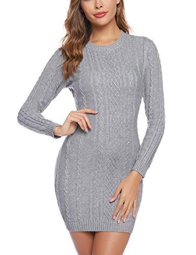 Aibrou Robe Pull Femme Col Rond à Manche Longues Robe Mi-Longue en Tricoté Elegant Pullover Robe Chic Casual Automne Hiver Chaud